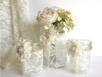 wedding photo - 3 Piece Lace Covered Mason Jars With Adorable Lace Flowers 1 Vase And 2 Candle Holder, Wedding Decor Gift Or For You NEW