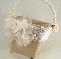 wedding photo - Flower Girl Basket Bridal Basket In Ivory, Blush Pink, Nude And Champagne With Dupioni Silk And Crystal Brooch Vintage Touch