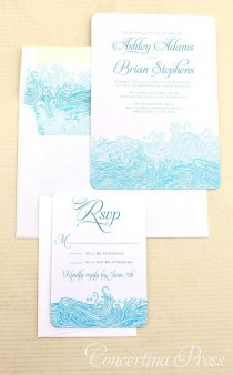 wedding photo - Waves Beach Wedding Invitations