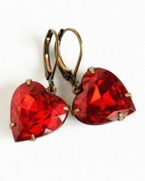 wedding photo - Heart Earrings, Red Jewel Earrings, Vintage Red Heart Glass Jewel Earrings, Dangle Earrings, Deep Red Jewel Earrings