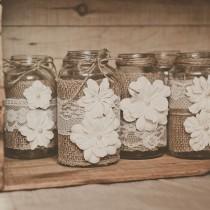 wedding photo - 10 dentelle et de toile de jute, Centres de mariage. Dentelle et de mariage de toile de jute. Mariage rustique, mariage de grang