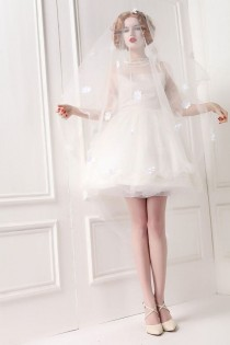 wedding photo - Sheer Open Back Half Trumpet Sleeve White Silk Victorian Wedding Gown Ruffled High Collar Puffy Skirt Prom White Swan Bridal Party Dress