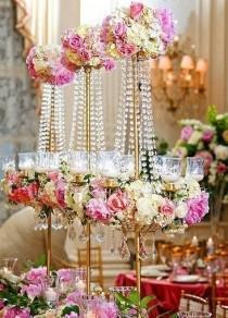 wedding photo - Tall Crystal Centerpieces.