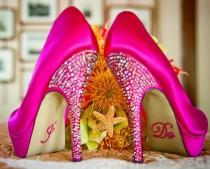 wedding photo - # Chaussures de mariage # rose # bling