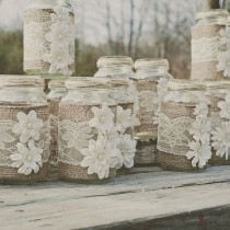 wedding photo - DIY Burlap And Lace Mason Jar. Fits 24 Oz Mason Jars. Lace And Burlap Wedding. Rustic Wedding, Barn Wedding. Mason Jar