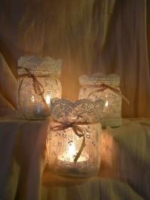 wedding photo - Lace Candle Holders.
