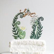 wedding photo - Fougères et fleurs Gâteau Topper