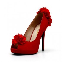 wedding photo - Red Satin Wedding Shoes With Flowers