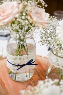 wedding photo - Featured On MSN Living - Lace Mason Jar Vases - Large Quart Size - Set Of 12