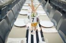 wedding photo - Black And White Striped Runner