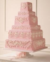 wedding photo - Rose coeur en filigrane gâteau