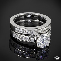 "wedding photo - 18k White Gold ""Cathedral Channel-Set"" Diamond Engagement Ring And Wedding Ring"