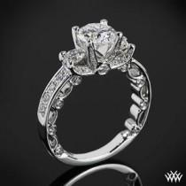 wedding photo - 18k White Gold Verragio Bead-Set 3 Stone Engagement Ring