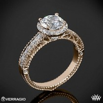 wedding photo - 20k Rose Gold Verragio Beaded Pave Diamond Engagement Ring