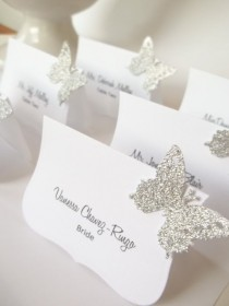 wedding photo - wedding butterfly place cards