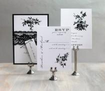 wedding photo - All Black - Modern Wedding Invitation, Black And White Wedding, Lace Wedding Invitations, Invitation {NEW} - Sample