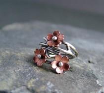 wedding photo - Kirschblüten-Niederlassung justierbare Ring-, Frühlings-Schmuck, Silber-Ring, ein Ring auf Bestellung, Zweig Ring, Filiale Ring,