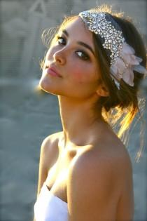 wedding photo - The Classic Crystal And Petal Mini Hair Bandeau- Lucy