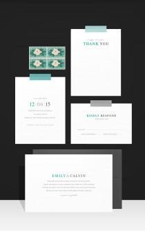 wedding photo - Invitations modernes de mariage simples