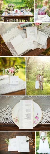 "wedding photo - Elegant Boxed Wedding Invitations, Wedding Invitations, Blush Wedding (As Seen On Style Me Pretty) - ""Ruffled Romance Box Invite"" Sample"