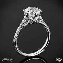 "wedding photo - Platinum Vatche ""Swan"" French Pave Diamond Engagement Ring"