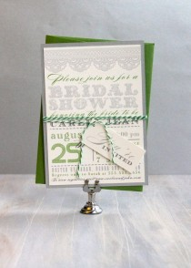 wedding photo - Green Bridal Shower Invitations, Green Wedding Shower Invitations, Garden Bridal Shower Invitations - 10 Colors To Choose From - Deposit