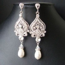 wedding photo - Victorian Style Bridal Earrings, White Ivory Pearl And Rhinestone Chandelier Wedding Earrings, Hollywood Glamour Bridal Jewelry, JACQUELINE