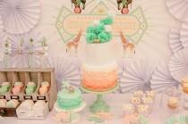 wedding photo - Jolie pêche et vert Cirque clients Dessert entité