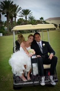 wedding photo - Golf Cart Wedding Photo