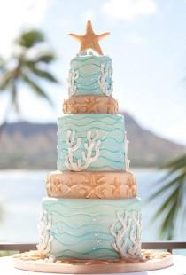 wedding photo - Причудливые Морские Звезды Пляжа Свадебный Торт