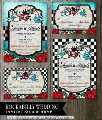 wedding photo - Рокабилли Свадебные Приглашения,rsvp, регистрационной Карты - Цифровой Печати Файлов-Ретро Клетчатый Проблемных Синий Винтажные