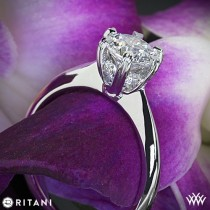 wedding photo - 18k White Gold Ritani Setting Solitaire Engagement Ring