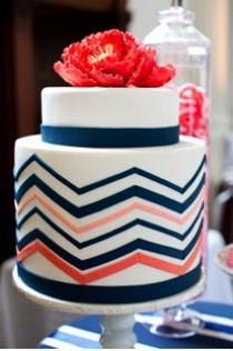 wedding photo - Coral And Navy Chevron Cake