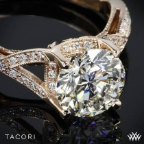 wedding photo - 18k Rose Gold Tacori Ribbon-Twist Millgrain Diamond Engagement Ring