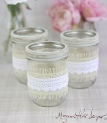 wedding photo - Mason Jar Wedding Centerpieces Vases With Burlap And Lace Rustic Country Wedding Decorations SET OF 12 (Item Number 130101)
