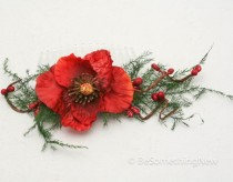 wedding photo - Festive Red Flower And Dried Fern Hair Comb Fashion Accessory Wedding Hair Comb