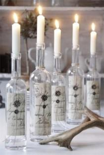 wedding photo - Beautiful Wine Bottle Candle Holders