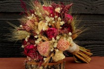wedding photo - Rustic Burgundy And Pink Wedding Bouquet, Large Bridal Bouquet, Rustic Chic Bouquet, Dried Flowers, Peony Bouquet With Wheat & Wild Flowers