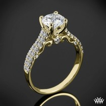 wedding photo - 18k Yellow Gold Verragio Dual Row Shared-Prong Diamond Engagement Ring