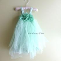 wedding photo - Mädchen-Kleid, Blumenmädchen Kleid, Mint-Kleid, Baby-Kleid, Mädchen-Spitze-Kleid, Tüll-Kleid, Rosette Kleid, Kleines Mädchen, Kl