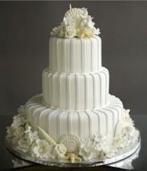 wedding photo - Белое Свадебное Shell Торт