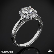 wedding photo - 18k White Gold Verragio Rounded Halo Solitaire Engagement Ring