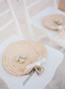 wedding photo - Love These Beach Wedding Raffia Fans!