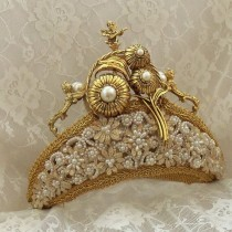 wedding photo - Royal Crown mariage, diadème d'or, couronne nuptiale, or Anges de la Renaissance, Steampunk diadème de mariage, OOAK, les plans