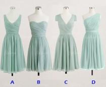 wedding photo - Mint Bridesmaid Dresses, Short Bridesmaid Dresses, Chiffon Bridesmaid Dresses, Cheap Bridesmaid Dresses, 1400309