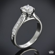 "wedding photo - 18k White Gold ""Cathedral Pave"" Diamond Engagement Ring"