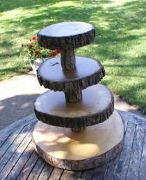 wedding photo - The Original Designed 4 Tier Tree Slice Large Cupcake Stand Reserved For Amy
