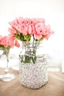 wedding photo - Glitter Vase Jars For Table Decorations