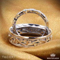wedding photo - 6mm 18k White Gold Tacori Sculpted Crescent Eternity Wedding Ring