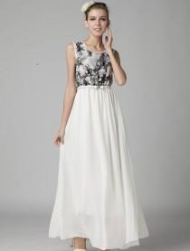 wedding photo - White Sleeveless Floral Lace Full Length Dress - Sheinside.com